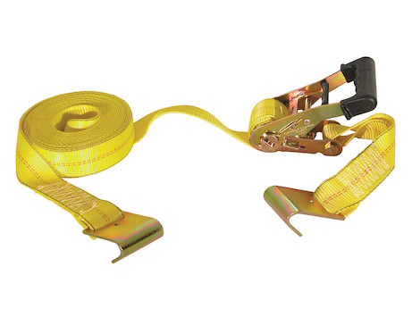 27 FOOT RATCHET STRAP WITH SOFT RUBBER GRIP W/ Flat Hooks