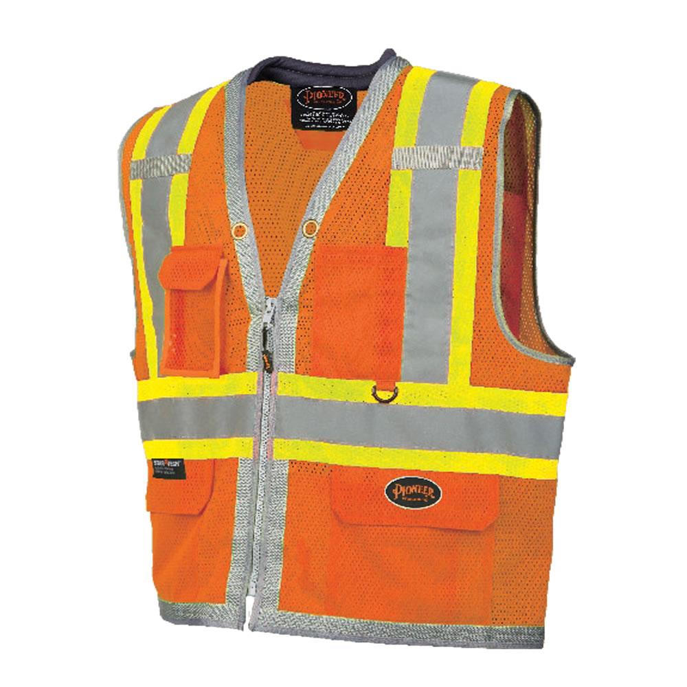 Full Mesh Surveyor Vest with Padded Collar Orange